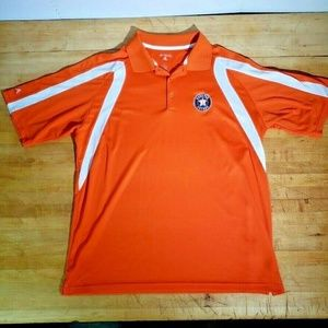 Antigua Mens Lg Houston Astros Polo Shirt Orange